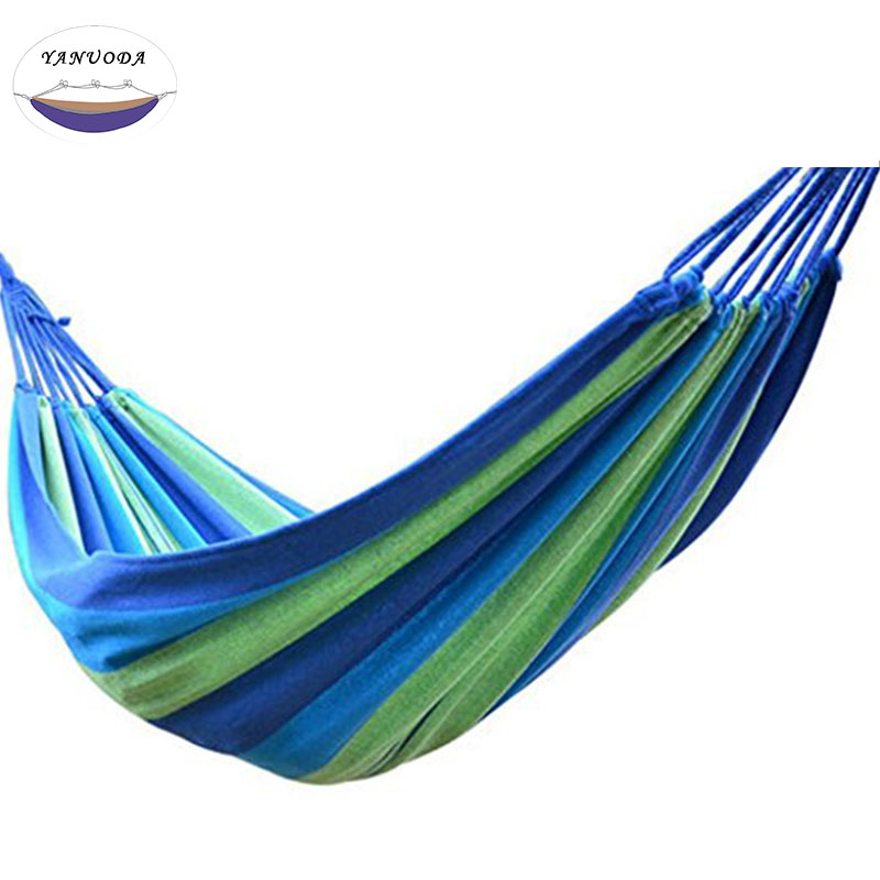 High Strength Portable Hammock 200*100cm Backpacking Hiking Woven Cotton Fabric Tender Green Striped Camping FurnitureHigh Strength Portable Hammock 200*100cm Backpacking Hiking Woven Cotton Fabric Tender Green Striped Camping Furniture