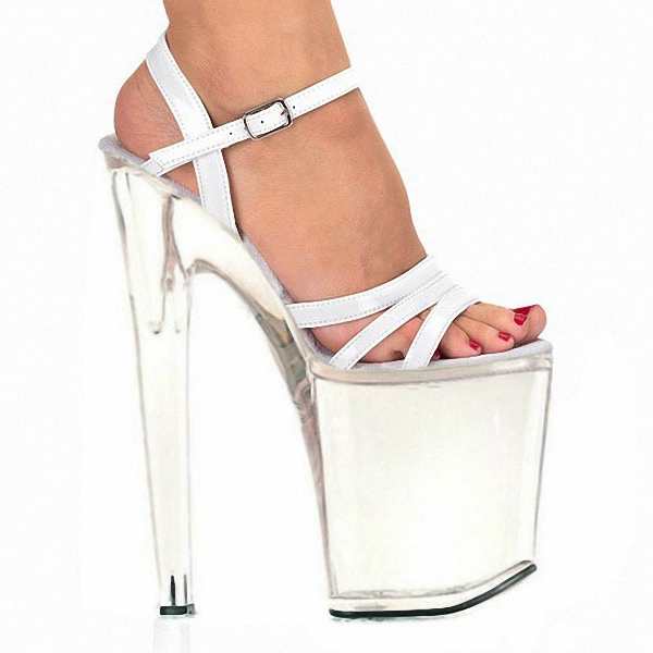 ФОТО Fashion sexy transparent sandals set auger chain ultra slim heel sandals 12 appeal runway show shoes on sale