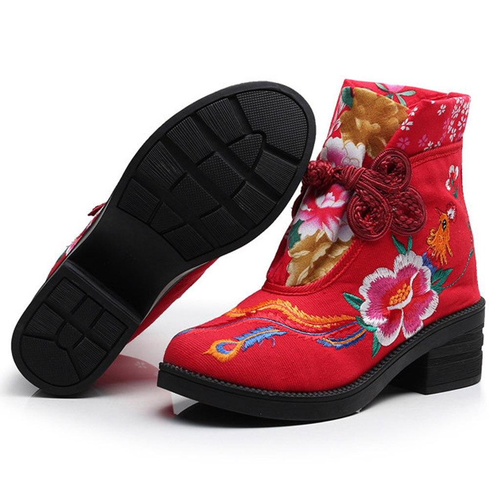 Brodé Bateaux rouge Fleur Toile Noir Bottes Coton Casual Mujer Bottines Femmes Vintage Nouveau Chaussons Chaussures Phoenix Hiver wqIOgaY0a