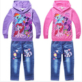2015 Новое прибытие детская с длинными рукавами толстовки + джинсы брюки дети девушки набор