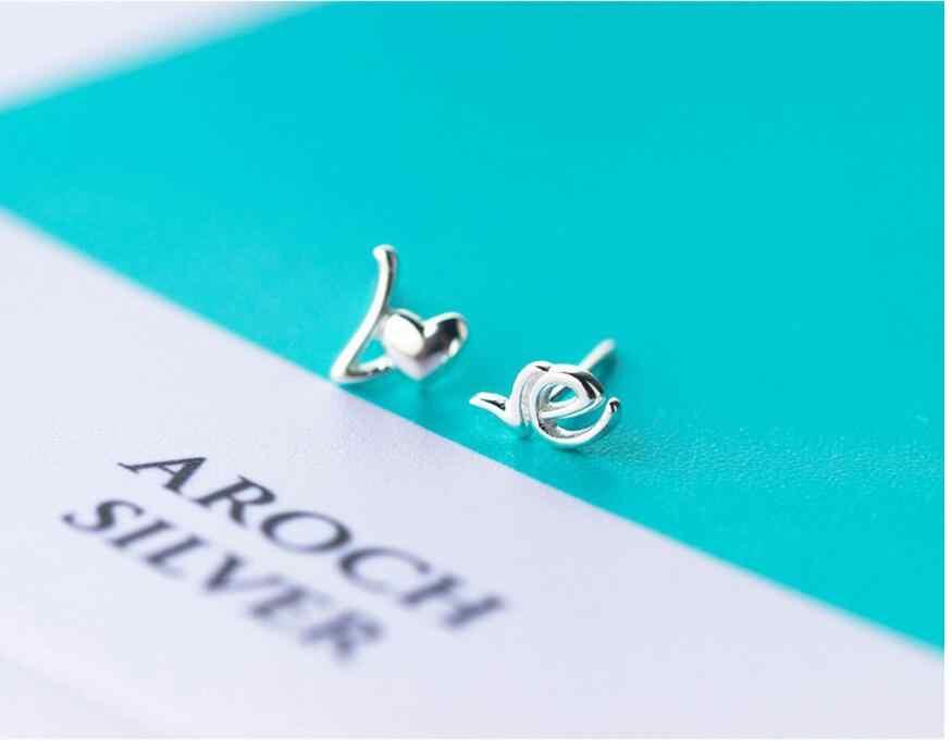 Boucles d'oreilles en argent Sterling 925 avec lettre d'amour pour femme élégante dame prévenir les allergies Brincos pendientes mujer moda 2018 A102