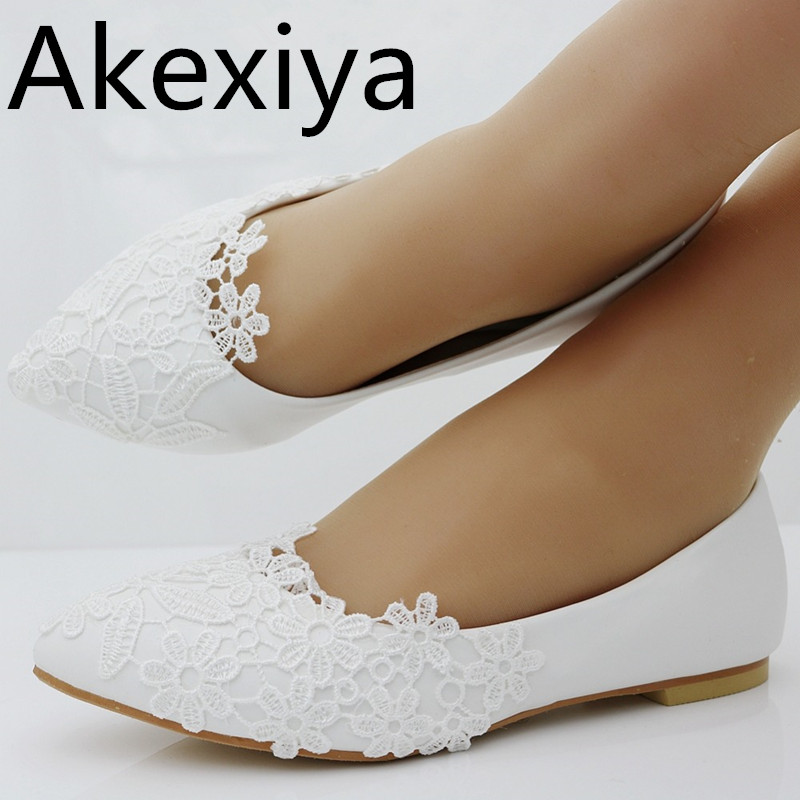 Akexiya Ballet Flats White Lace Wedding Shoes Flat Heel Casual Shoes Pointed Toe Flats Women Wedding Princess Flats Plus Size 41 meotina women flat shoes ankle strap flats pointed toe ballet shoes two piece ladies flats beading causal shoes beige size 34 43