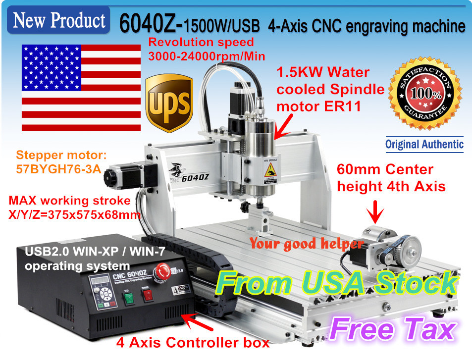 From USA ship 2018 New type 4-Axis 6040Z 1500W 1.5KW USB Mahc3 CNC Router Engraver Engraving Milling Cutting machine 110V/220V 110v 220v 4 axis mini cnc am3040 engraver carving engraving router machine