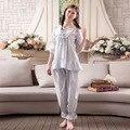 2017 New Fashion Lady Sleepwear Women's Cotton Pajamas Sets Vintage Sweet Princess Lace Women Pyjamas Set