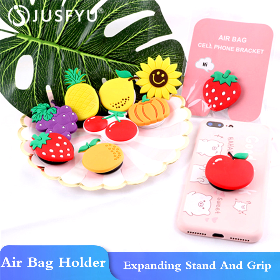 Universal Phone Holder For Apple Pattern Fruit Air Bag Smartphone Holder Stand Expanding Grip Stretch Cell Phone Ring Holders