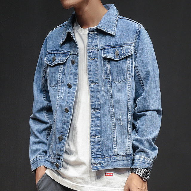 380373eacee5 2018 New Distressed Blue Denim Jacket Men Autumn Ripped Jeans Jackets Coat  Male Slim Fit Casual