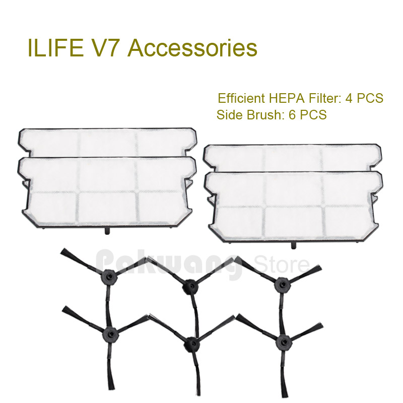 Original ILIFE V7 Robot vacuum cleaner Efficient HEPA Filter 4 pcs and Side brush 6 pcs from the factory original ilife v7 primary filter 1 pc and efficient hepa filter 1 pc of robot vacuum cleaner parts from factory