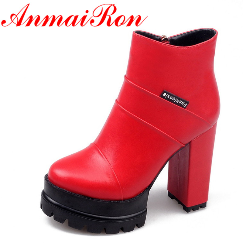 все цены на ANMAIRON New Zippers High Heels Ankle Boots for Women Round Toe Sexy Red Platform Shoes Woman Large Size 34-42 Motorcyle Boots