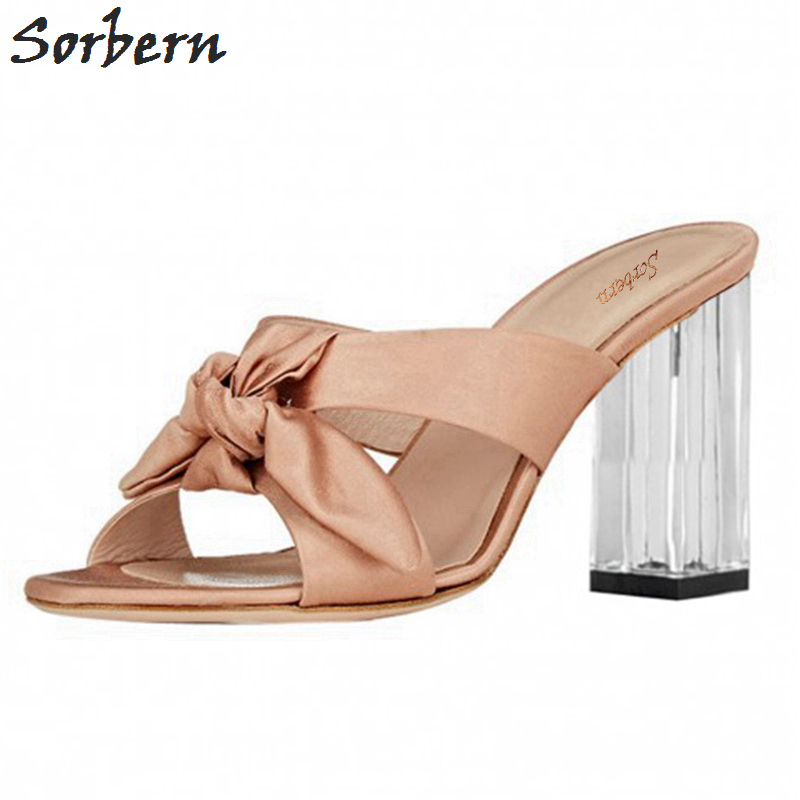 Sorbern Elegant Women Shoes Slippers High Heel Transparent Clear High Heels Open Toe Cross-Tied Satin Bowknot Ladies Slides Shoe stylesowner rabbit fur plush high heel slippers transparent clear slippers clip toe thin high heels shoes ladies shoes for women