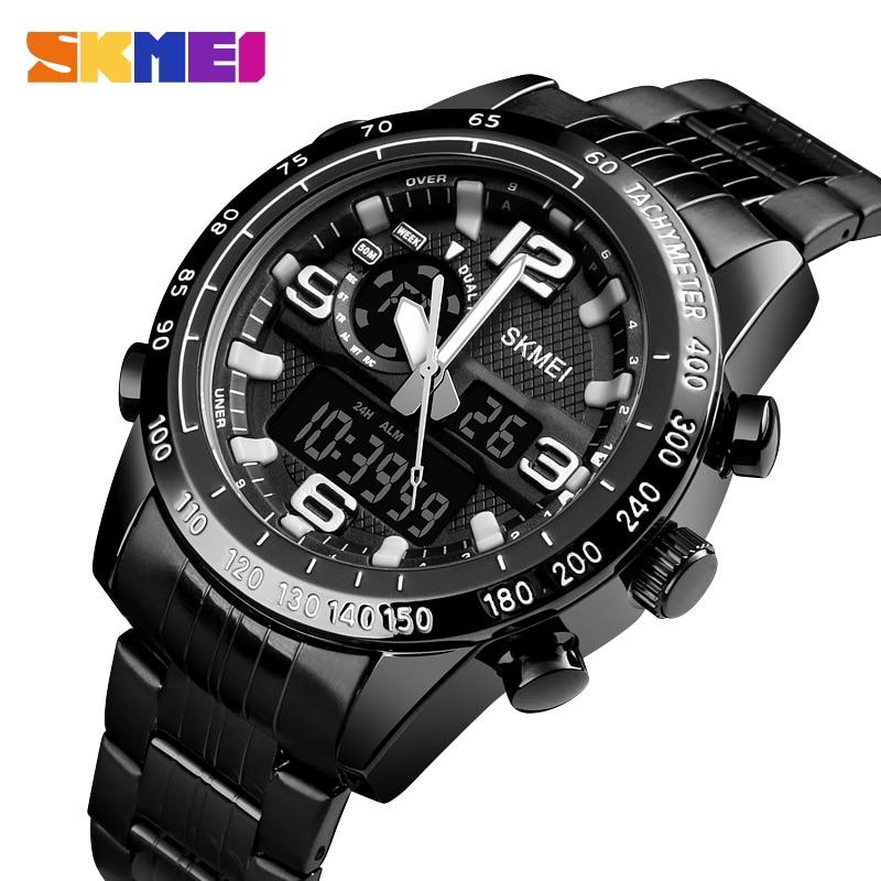лучшая цена SKMEI Brand Men Watch Digital Quartz Sports Watches Waterproof Countdown Stainless Steel Wrist Watch Men Clock Relogio Masculino