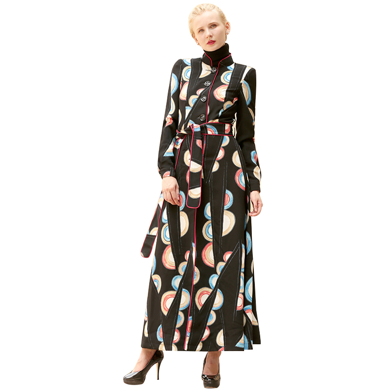 Manteau Hiver Mode Femmes Unique Poitrine Pardessus De 6490 Avec Automne Long Lady Femme Imprimé Ceinture Ol Style vEq01wUq