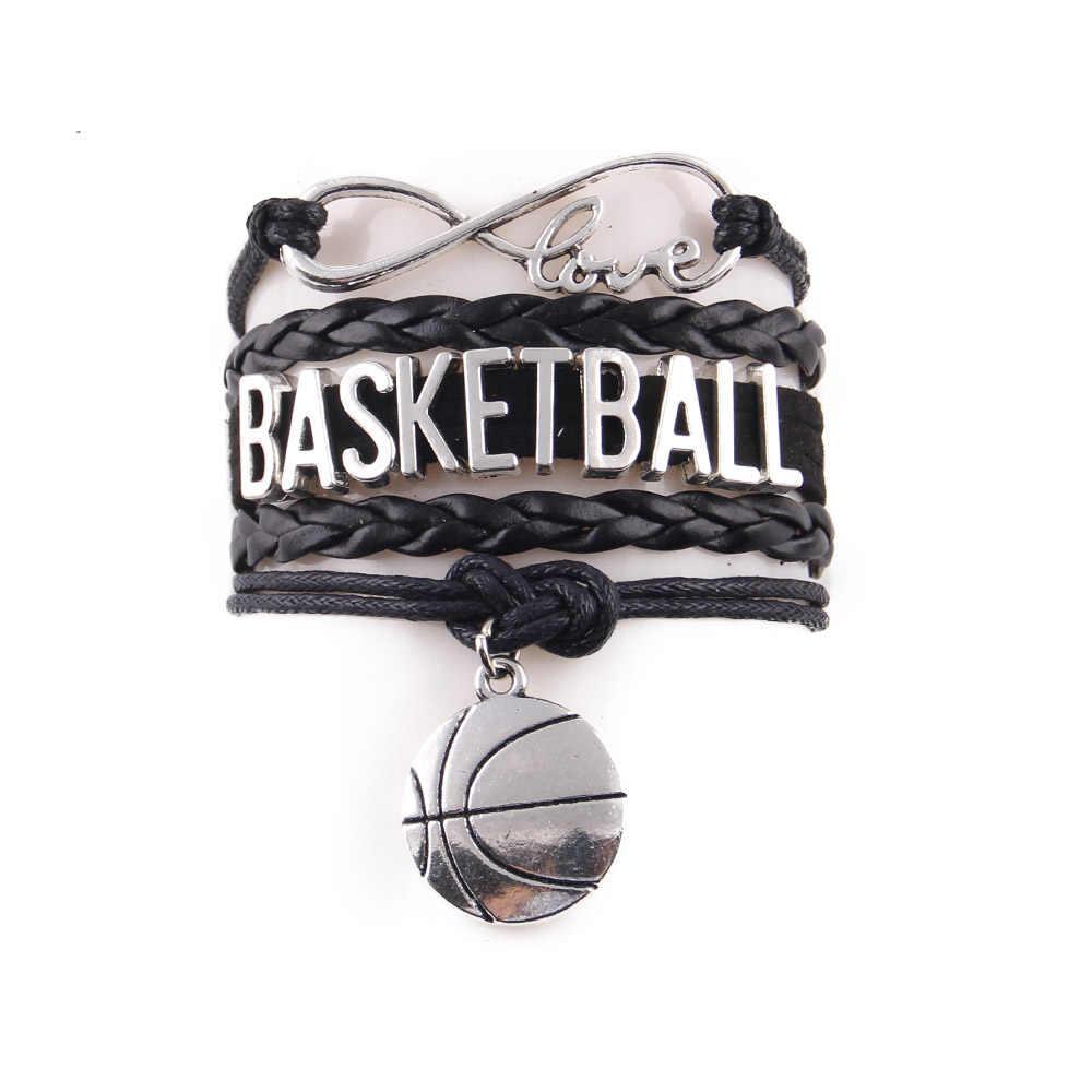 リトル Minglou 無限の愛バスケットボールママブレスレットバスケットボールチームチャームレザーラップブレスレットブレスレットレディースジュエリー用バングル