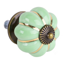 5 Pacote de 8 Projeto de Abóbora Porcelana Móveis Puxadores alças Móveis knob botão de Móveis de luxo verde