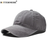 BUTTERMERE Brand Gray Cotton Winter Baseball Cap Adjustable Women Solid Snapback Hats Vintage Peaked Caps Spring
