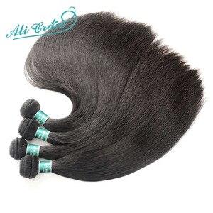 Image 3 - עלי גרייס שיער ברזילאי ישר שיער טבעי 4 חבילות 100% רמי שיער טבעי וויבס צבע טבעי 10 28 inch משלוח חינם