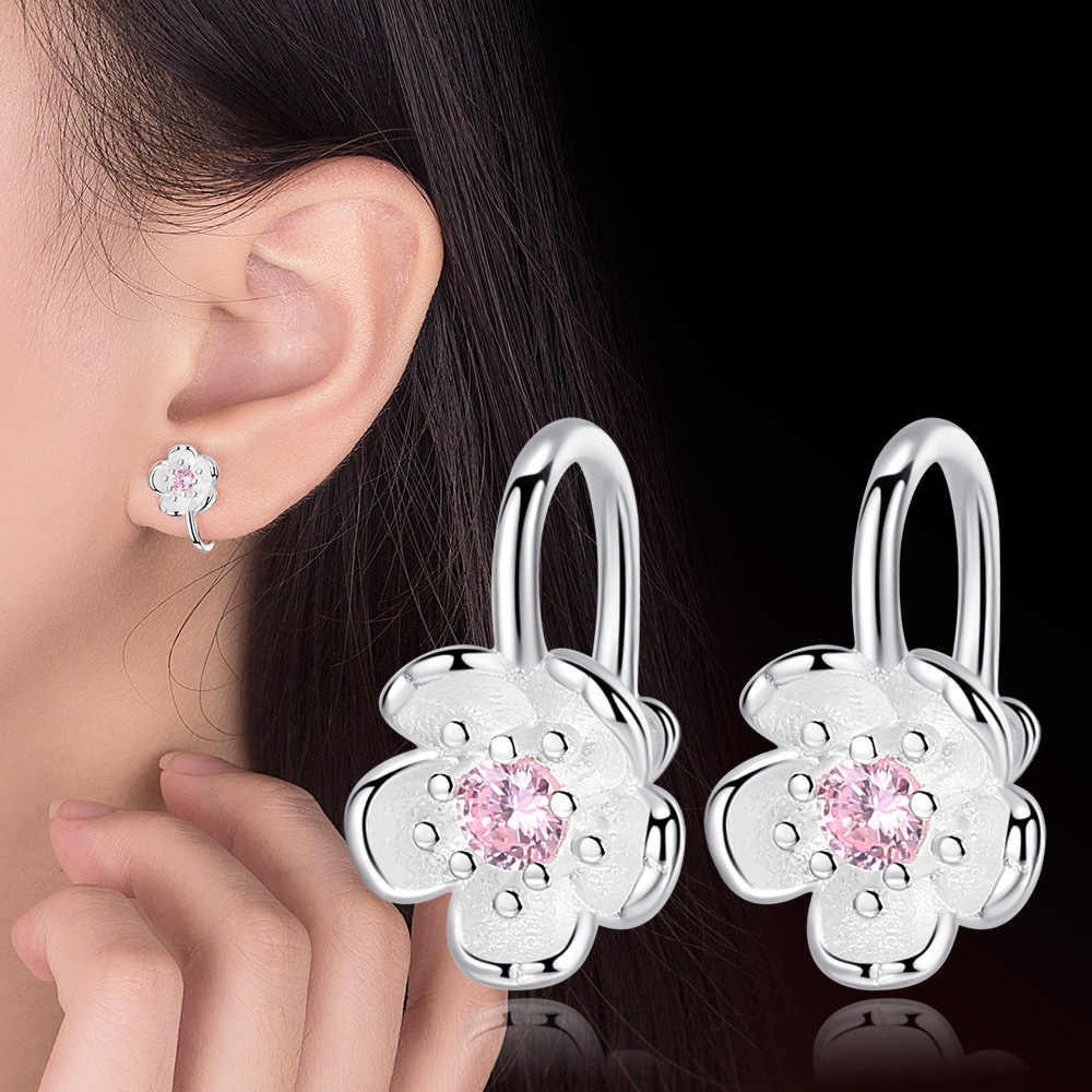 Anenjery Romantic Cherry Blossoms No Hole Ear Clips 925 Sterling Silver Flower Clip Earrings For Women S-E626