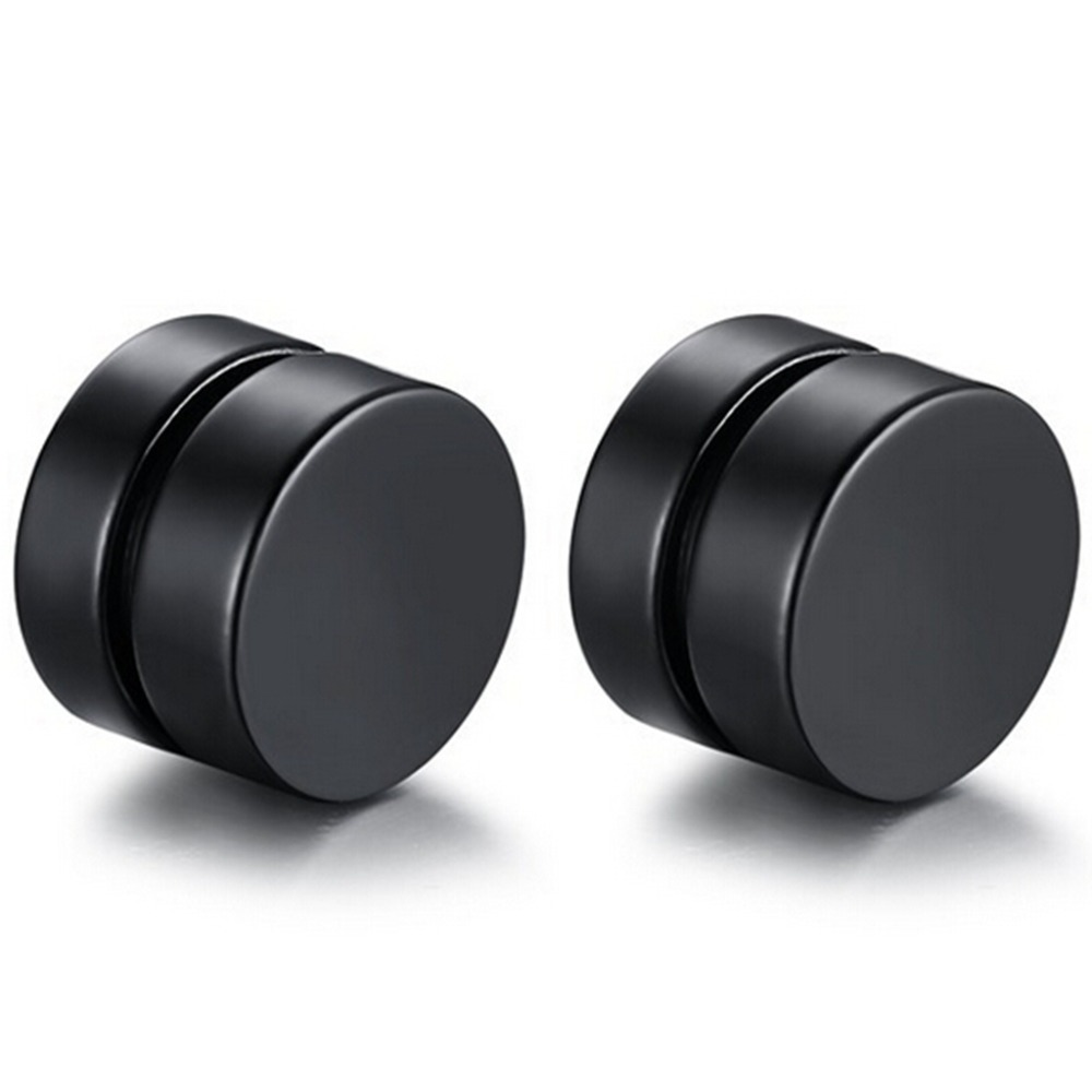 8mm Round Stainless Steel Magnetic Clip On Ear Stud Earrings No Piercing  Punk Biker Cocktail Party