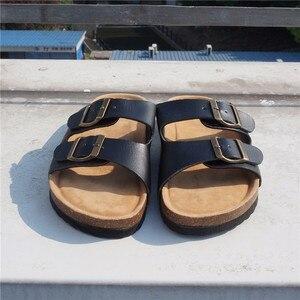Image 3 - RASMEUP עור נשים של נעלי 2018 קיץ רך פקק אבזם כפכפים נשים חוף שקופיות מקרית לבן אישה כפכפי נעליים
