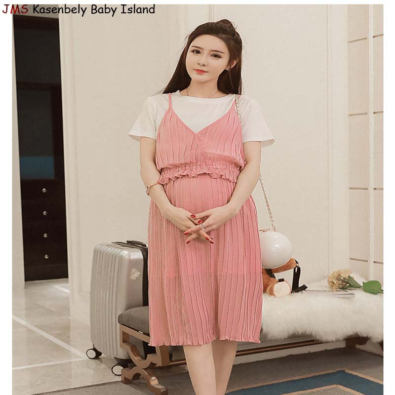 JMS Kasenbely summer pregnancy women dress classic stripes clothes outside easy breastfeeding maternity clothes