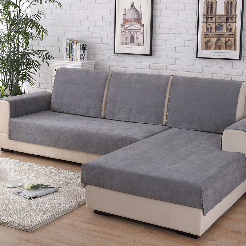Sofa Cover Waterproof Fabric Cushion Grey Pure Color Seat