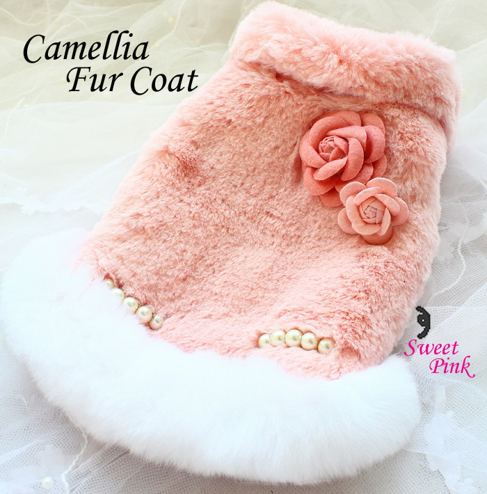 Free shipping handmade luxury dog clothes camellia Celebrities style artificial rabbit hair dog fur coat warm