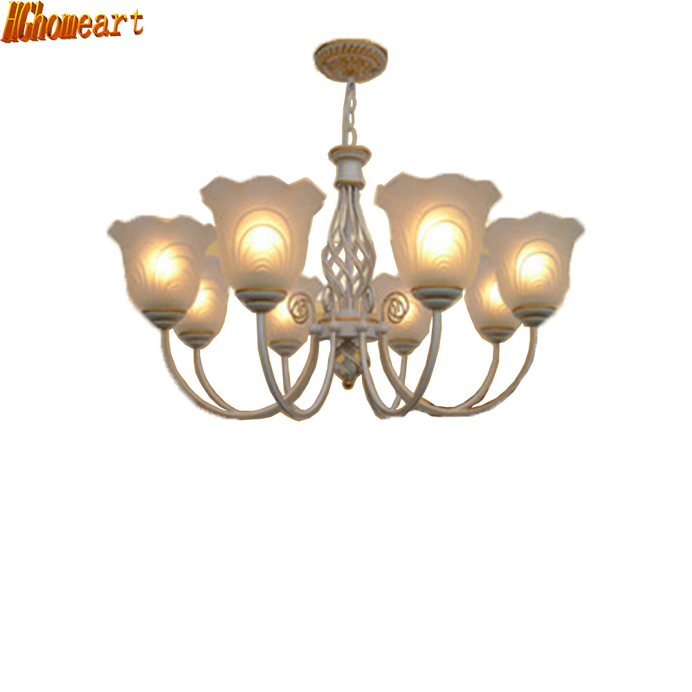 HGhomeart Suspension Antique Iron Chandelier 110V/220v Bulb E27 Led Vintage Home Lighting Living Room Kitchen Chandelier high quality princess room farmhouse resin living room chandelier led e27 lamp 110v 220v 3 head suspension chandelier lighting