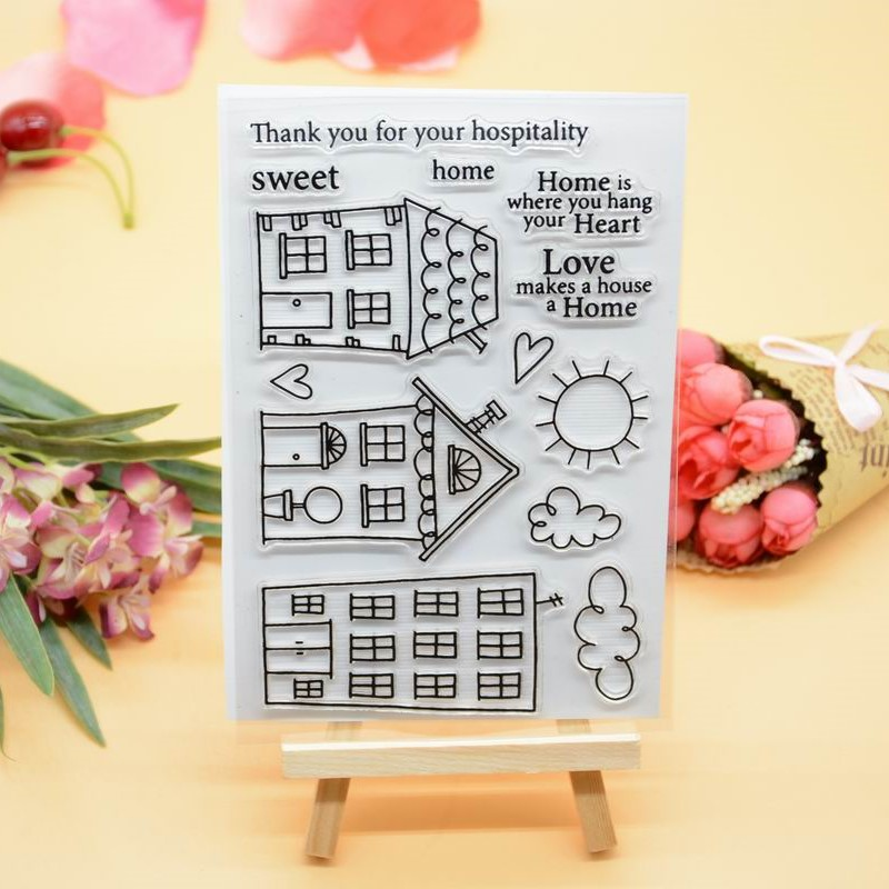 Cute House Rubber Clear Stamp For Card Making Decoration And Scrampbooking Happy Birthday Clear Stamp