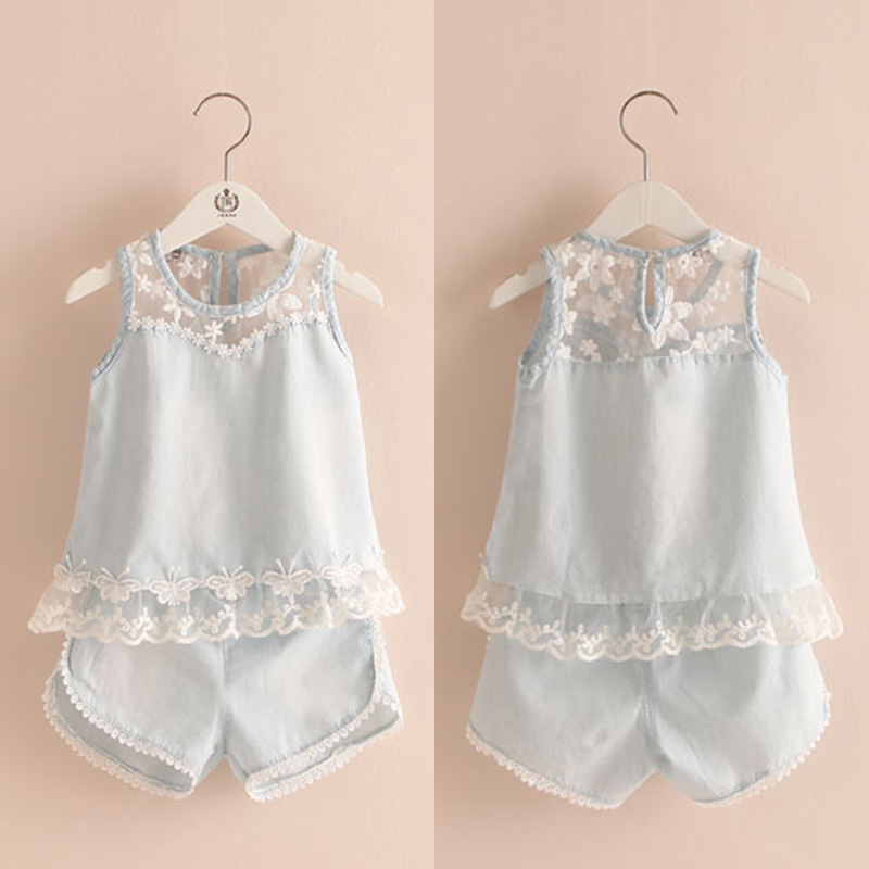 2016 Summer Female Child Children'S Clothing Denim Vest Shorts Twinset 2 Pcs Lace Patchwork Set
