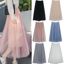 Hot Sale Women Tulle Skirts Sheer Tutu A-line Mesh Midi Party Elastic Skirt Three Layer Chiffon Pleated Lace High Waist