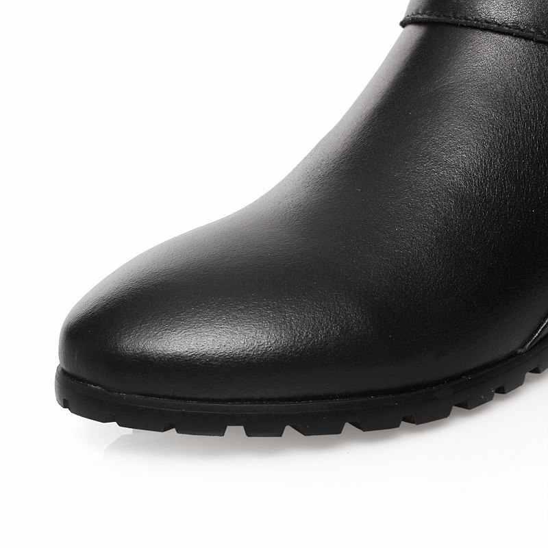MORAZORA 2019 חדש אמיתי עור מגפי אבזם רוכסן הברך גבוהה מגפי סתיו חורף stratch נשים מגפי אופנה נעלי נשי