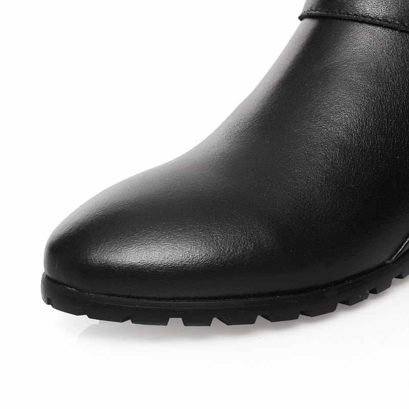 Женские сапоги до колена с пряжкой MORAZORA, черные сапоги на молнии из натуральной кожи, новинка осенне-зимнего сезона 2020