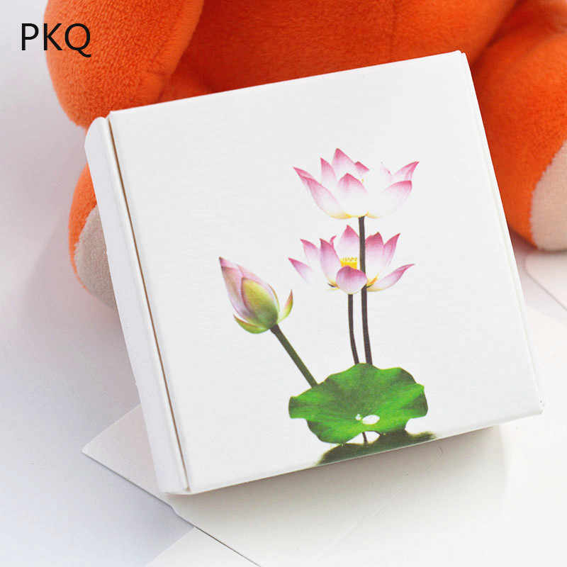 Lotus Printing White Paper Soap Small Cardboard Box Small White Paper Craft Boxes Candy Gift Packaging Carton Paper Box White