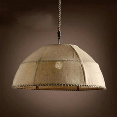 Natural Handmade Linen Cloth Pendant Lights  for Kitchen D35cm Creative Pastoral Style Pendant Lamp for Coffee shop Bar