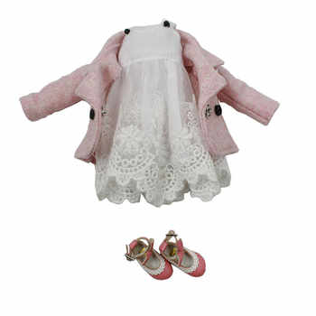 DBS Doll Clothes For 1/6 Blyth licca Azone ICY doll 2 Pieces Lace Dress Pink Coat girl gift - DISCOUNT ITEM  10 OFF Toys & Hobbies