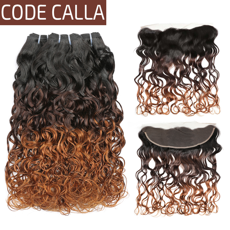 Code Calla Ombre Color Water Wave Bundles With 13 4 Lace Frontal Free Part Closure Brazilian