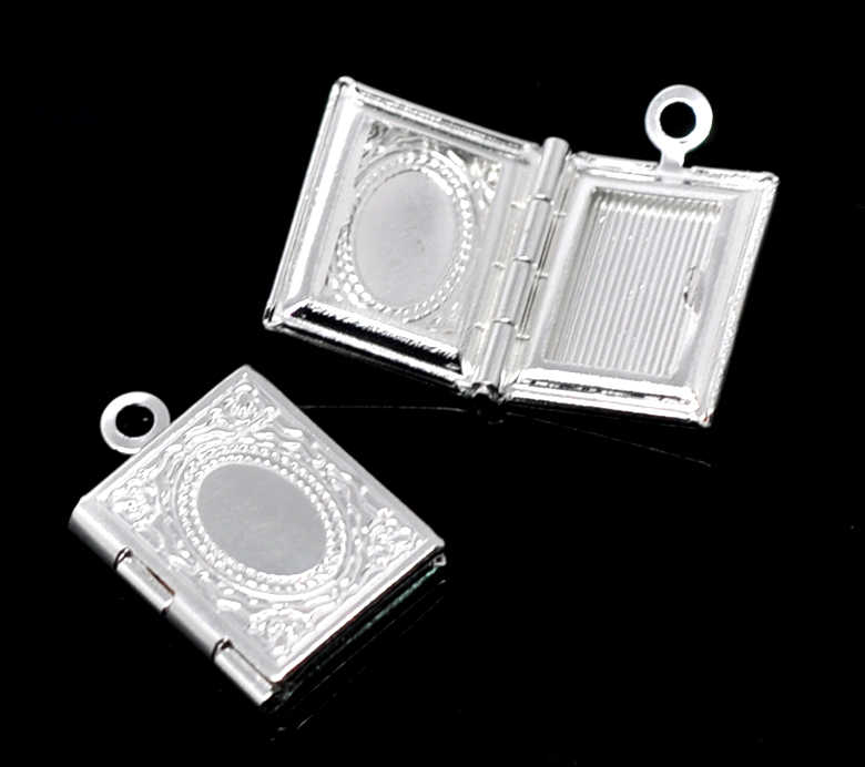 "Copper Charm Pendants Rectangle Silver Plated Cabochon Settings(Fits 6mm x 9.5mm)17mm(5/8"")x 12mm(4/8""),2 PCs new"