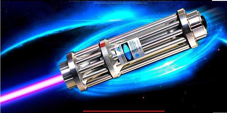 Plus Puissant Brûlant Lazer Torche Canon 450nm 500000 m SOS LED lampe de Poche Bleu Laser Pointeur Brûler Du Bois Sec Lumière Cigares chasse