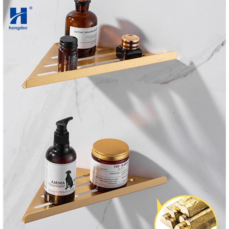 Estantes de esquina de 2 niveles de Hongdec triangulares de oro cepillado para montaje en pared estantes de ducha de pared