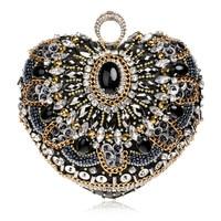 Rhinestones Women Day Clutches Ladies Vintage Evening Bags Beading Wedding Bridal Handbags Finger Ring Purse Bags Holder B0364