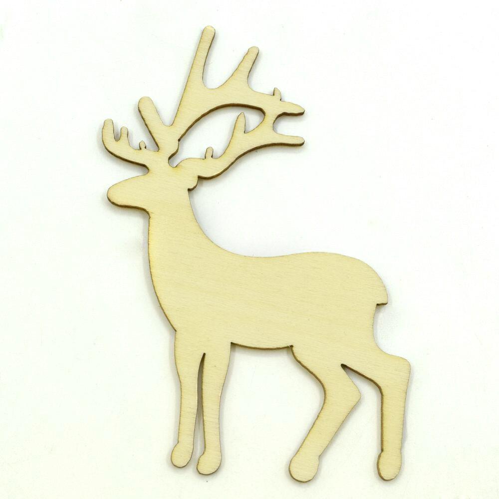 48 pçs/lote Em Branco inacabado de madeira veados Sika artesanato suprimentos de corte a laser de madeira rústica casamento DIY 86*49mm 1131