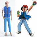 Adult Carnival Costume Disfraces Fantasia Infantil Pokemon Ash Ketchum Trainer Costume Cosplay for unisex Jacket +gloves