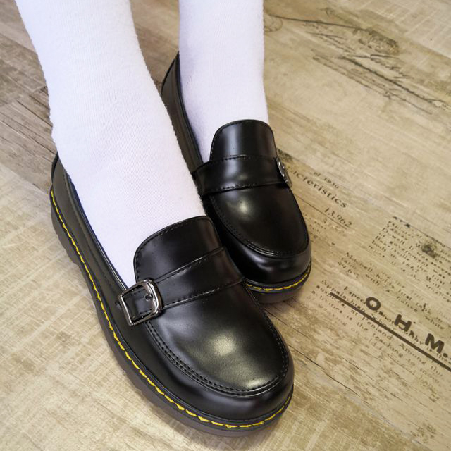 Uniform Shoes JK Lolita Round Toe Buckle Women Girls School Students Uwabaki Japanese Kawaii Black Brown Cosplay Shoes E04