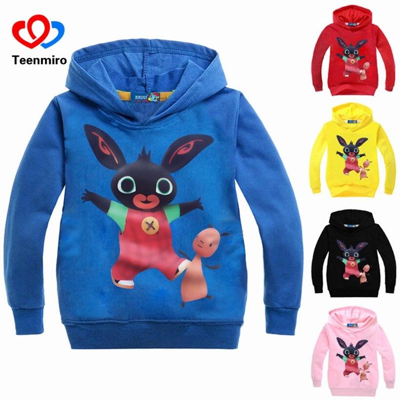 Children Sweatshirts Baby Boys Girls Hoodies Kids Long Sleeve Cotton Rabbit Tshirts Toddler Hoody Shirt Teens Black Coat Spring