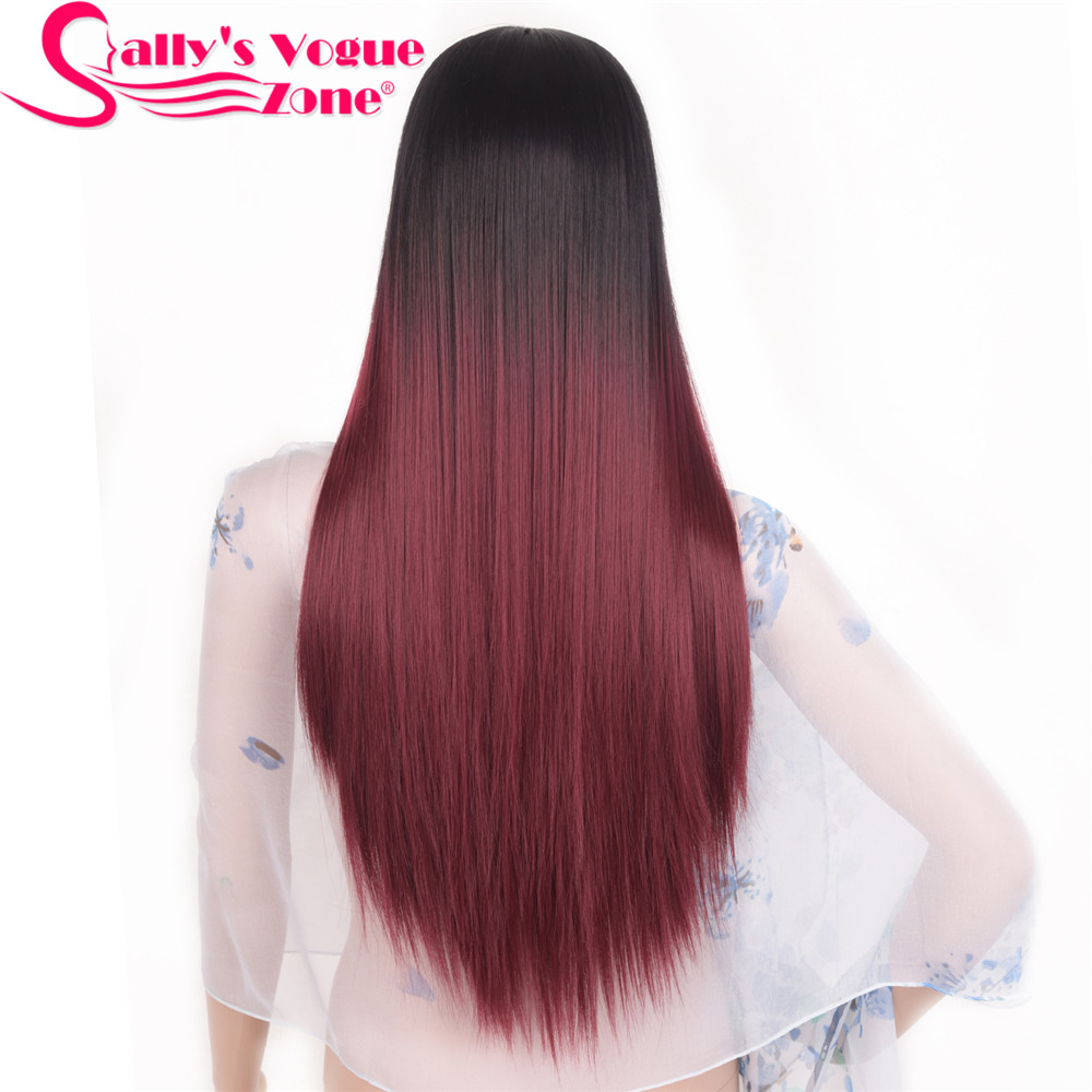 Sallyhair High Temperature Synthetic Straight Long Ombre Black Wine Red Color American African Wigs Hair For Black Women