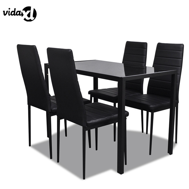VidaXL Contemporary Dining Set With Table And 4 Chairs Black Kitchen  Furniture Metal Table Soft Seats