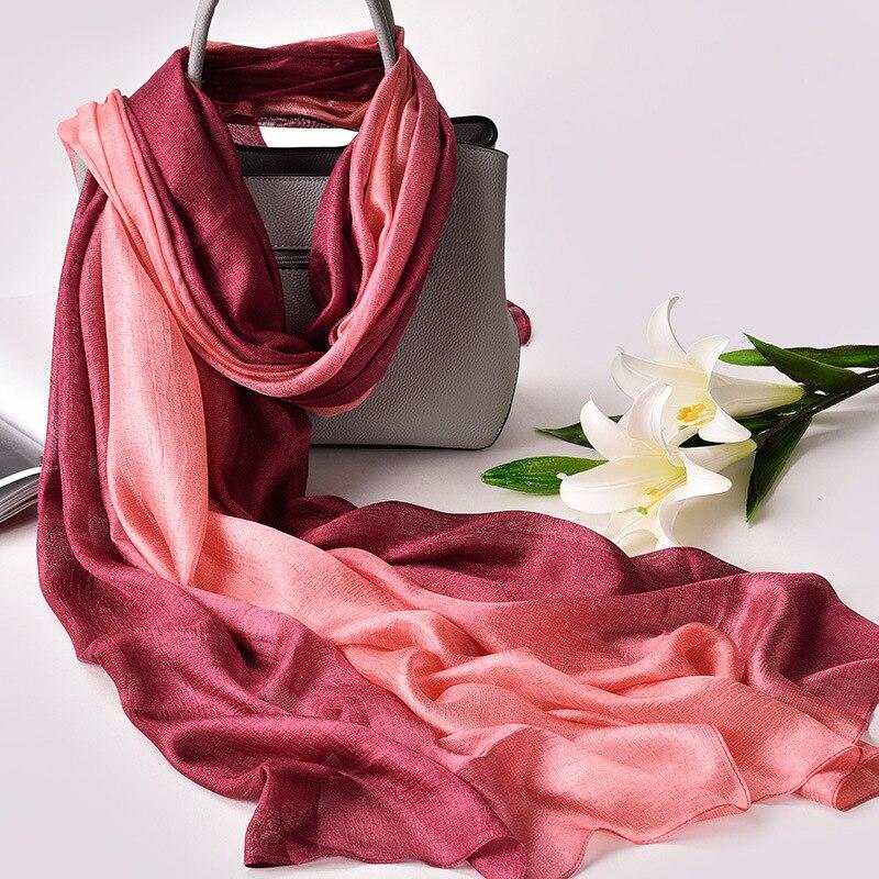 2019 Luxury Brand Real Silk Women   Scarf   fashion Soft silk kerchief Female Shawl Foulard Beach cover-ups   wraps   Silk Bandana Hijab