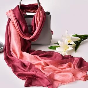 Image 1 - 2020 Luxury Brand Real Silk Women Scarf fashion Soft silk kerchief Female Shawl Foulard Beach cover ups wraps Silk Bandana Hijab