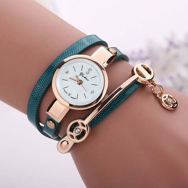 2016 New Brand Fashion Casual Women Quartz Watch PU Leather Bracelet Watches Gif