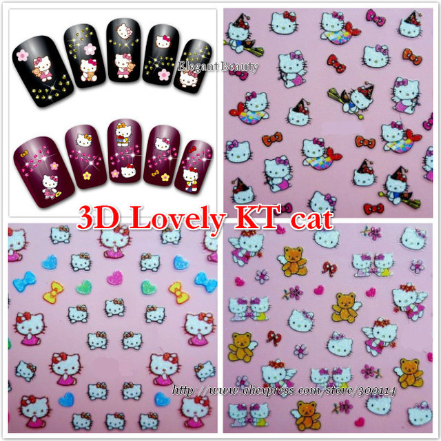 wholesale new 24 styles Nail Art Stickers kitty cat nail decal ...