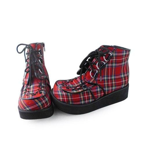 Gothique forme Haute Chaussures Plaid Punk Sweet Personnalisé 9101b Princesse Antaina Paltform Lolita Plate q14Ena
